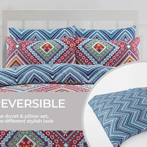 AirComfort Eco Breathable Cotton Blend Duvet Cover With Pillowcases Multi Design Bedding Set